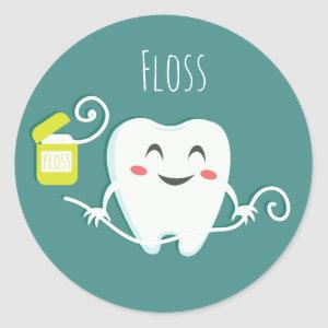 Floss Dentist Glossy, Small, 1½ inch (sheet of 20) Classic Round Sticker