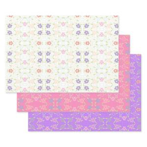 Flowered Gift Wrap Or Drawer Liner Sheet Set