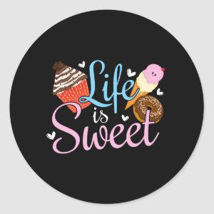 Foodie Life is Sweet Baking Quote - Cupcake Art Classic Round Sticker