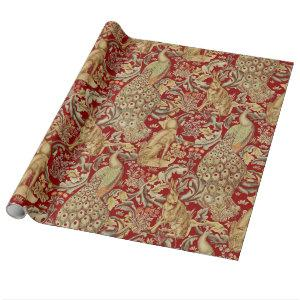 FOREST ANIMALS ,FOX, PEACOCK, HARE IN RED FLORAL WRAPPING PAPER