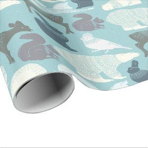 Forest Christmas Bunny Fox Deer Bear Bird Squirrel Wrapping Paper