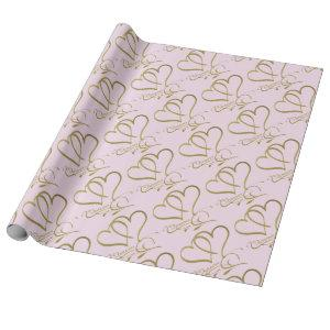 Forever Hearts Gold on Pink Wrapping Paper