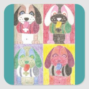 Four dogs pop art stickers