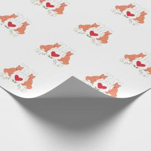 Fox & Heart Vine Print Wrapping Paper - White