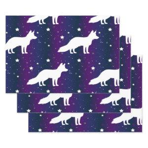 Fox Silhouette Starry Night Galaxy Lover Universe Wrapping Paper Sheets