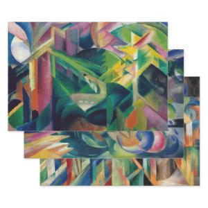 FRANZ MARC CUBISM ANTIQUE ANIMAL ART DECOUPAGE WRAPPING PAPER SHEETS