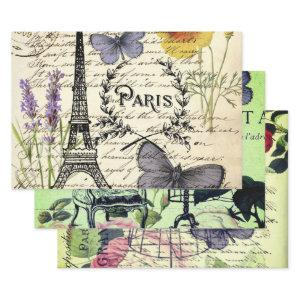 french botanical flower vintage eiffel tower paris wrapping paper sheets