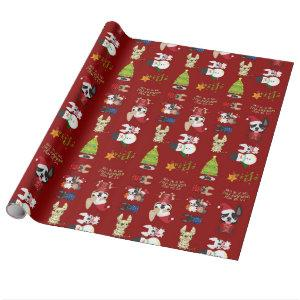 French Bulldog Christmas Holiday Wrapping Paper