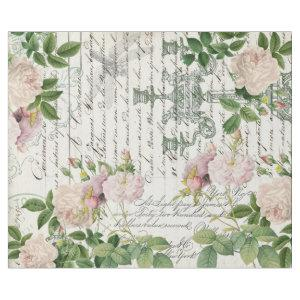 FRENCH DAMASK ROSES AND SCRIPT DECOUPAGE WRAPPING PAPER