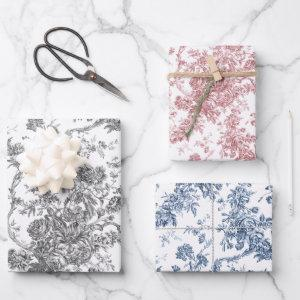 French Engraved Floral Toile-Grey, Pink, Blue Wrapping Paper Sheets