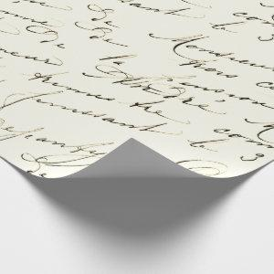 French Script Vintage Wrapping Paper
