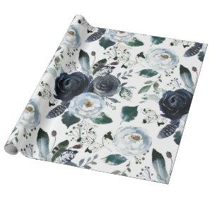 French Twilight Floral Watercolor Vintage Wedding Wrapping Paper