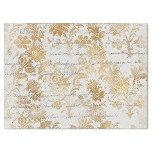 French Vintage Gold Floral Decoupage Tissue Paper