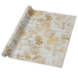 French Vintage Gold Floral Wrapping Paper
