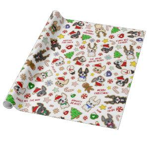 Frenchie Christmas Cookies Wrapping Paper