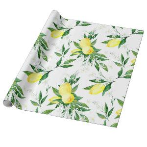 Fresh Lemons Greenery Blossom Watercolor Wrapping Paper