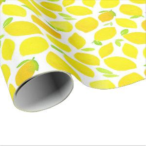 Fresh yellow lemons that bring happiness wrapping paper
