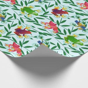 Frogs Bamboo Tropical Rainforest Wrapping Paper