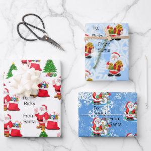 From Santa To Your Child's Name 3 Christmas Gift Wrapping Paper Sheets