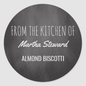 From the Kitchen Of Name Vintage Chalkboard Classic Round Sticker