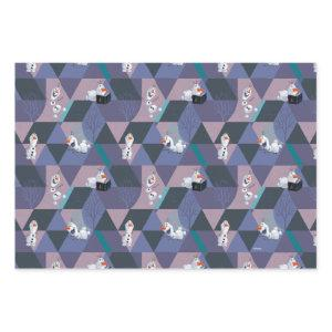 Frozen 2 | Olaf Purple Geometric Pattern Wrapping Paper Sheets