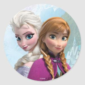 Frozen Elsa and Anna Birthday Classic Round Sticker
