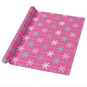 Frozen Snowflakes Holiday Gift Wrap / Pink
