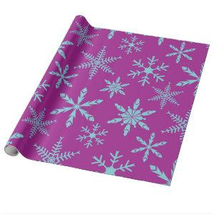 Frozen Snowflakes Holiday Gift Wrap / Purple Aqua