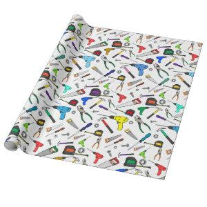 Fun Cartoon Tools Hardware Illustration Pattern Wrapping Paper
