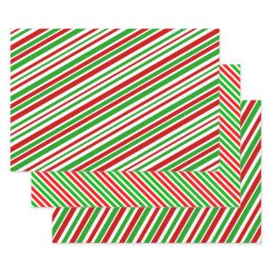 Fun Christmas-Themed Colours Stripes Pattern Wrapping Paper Sheets