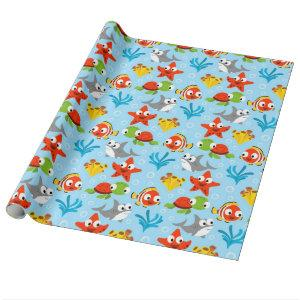 Fun Colorful Fish Ocean Kids Pattern Wrapping Paper