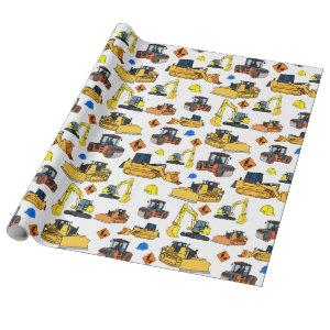 Fun Construction Vehicles Illustrations Pattern Wrapping Paper
