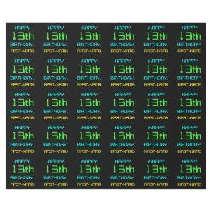 Fun Digital Computing Themed 13th Birthday Wrapping Paper