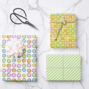Fun Easter Eggs White Green Striped Pattern Wrapping Paper Sheets