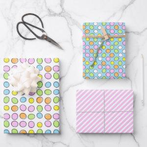 Fun Easter Eggs White Light Blue Striped Pattern Wrapping Paper Sheets