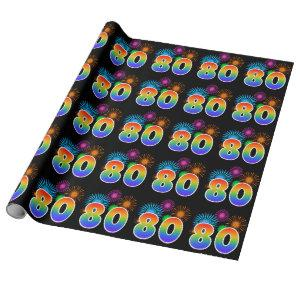 """Fun Fireworks + Rainbow Pattern """"80"""" Event Number Wrapping Paper"""