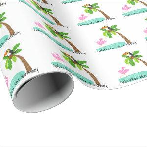 Fun Flamingo With Toucan Birthday Wrapping Paper