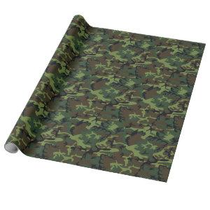 Fun Four Color Woodland Camouflage Wrapping Paper