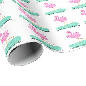 Fun Pink Flamingo Birthday Wrapping Paper