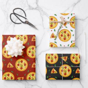 fun pizza food pattern wrapping paper sheets