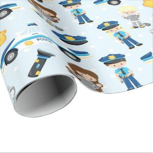 Fun Police pattern Party wrapping paper