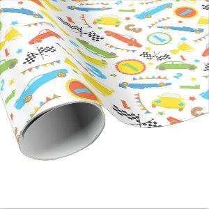 Fun Race car pattern boys party wrapping paper