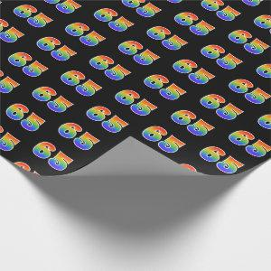 """Fun Rainbow Spectrum Pattern """"65"""" Event Number Wrapping Paper"""