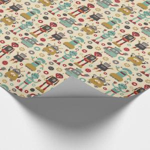 Fun Retro Robots Illustrated Pattern (Cream) Wrapping Paper