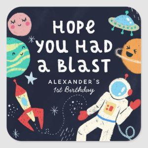 Fun Space Theme Birthday Party Favor Square Sticker