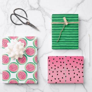Fun Summer Watermelon Pink Green Fruit Wrapping Paper Sheets
