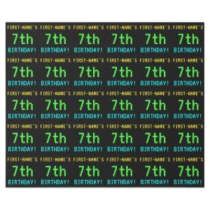 Fun Vintage/Retro Video Game Look 7th Birthday Wrapping Paper