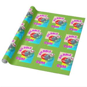 Funky Retro Pop Art Bubble Gum Lips Wrapping Paper