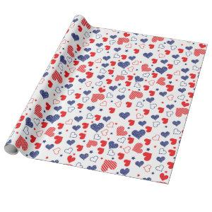 Funky USA Independence Day 4th July cute hearts Wrapping Paper