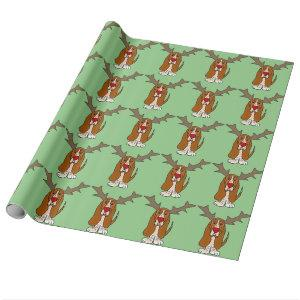 Funny Basset Hound Christmas Reindeer Wrapping Paper